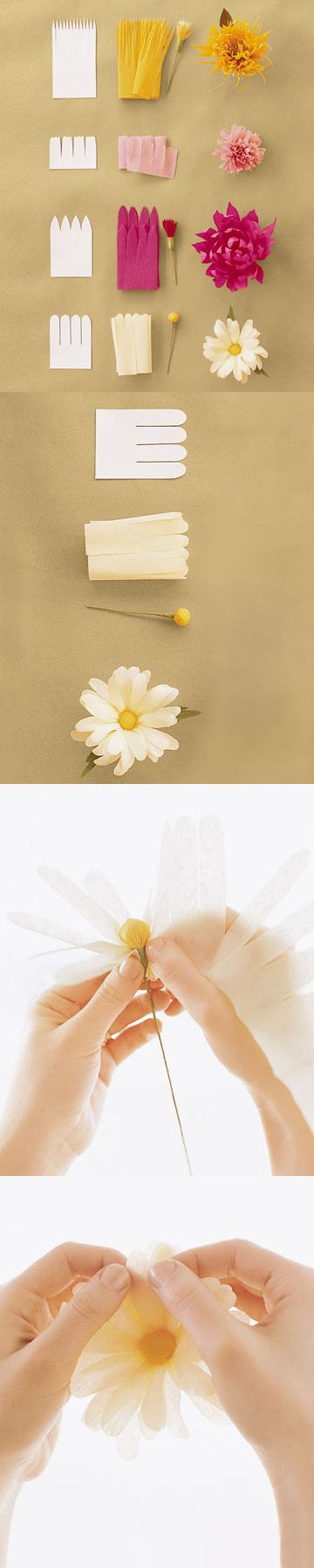DIY: paper flower tutorials http://www.marthastewartweddings.com/231065/how-make-crepe-paper-flowers/@center/272429/diy-weddings#slide_9 #paper_crafting #flowers