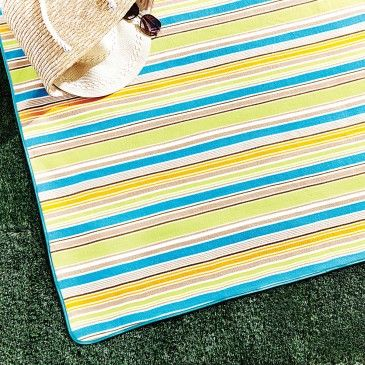 PICNIC RUG STRIPE WITH FLAP  - TEAL/GREEN/ORANGE Morgan & Finch