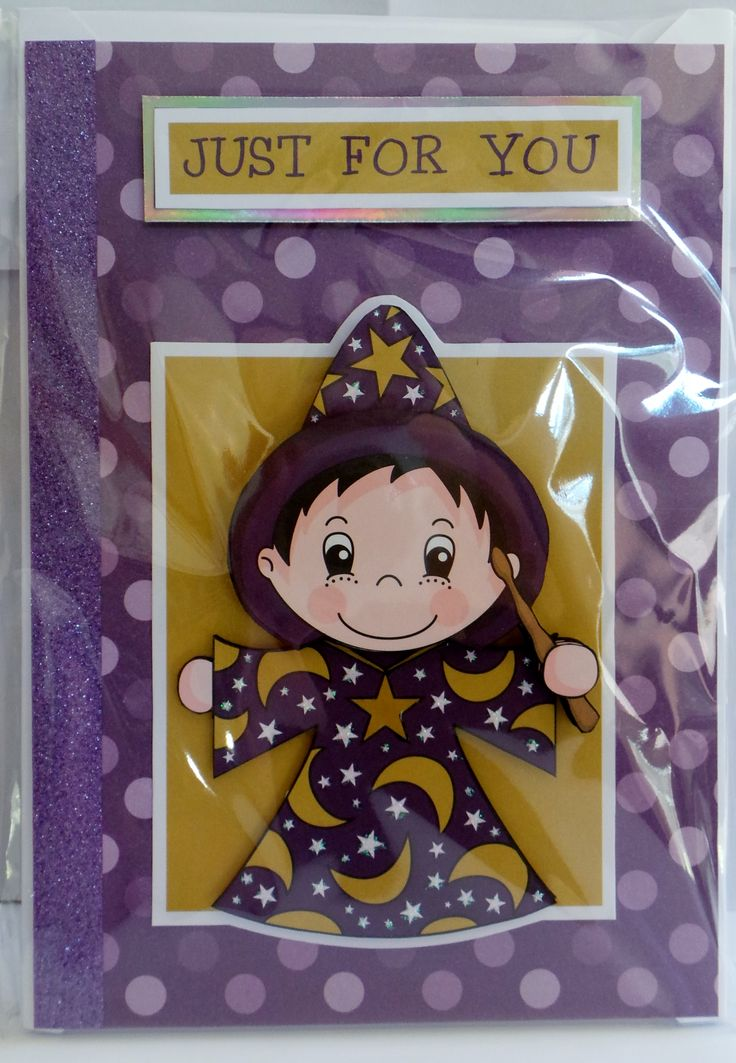 A5 3D wizard with glossy eye's and star pendant with glittered star outfit and hand made envelope