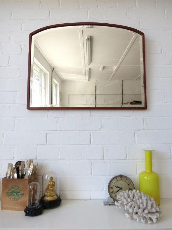 Vintage Large Bevelled Edge Wall Mirror with Wooden by uulipolli