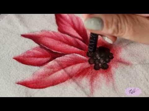Pintura em tecido - Eliane Nascimento: como pintar flor bico de papagaio - YouTube