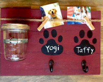 Perro tratamiento de soporte | Sostenedor de la correa del perro | Colgador de la correa del perro | Sostenedor del Collar de perro | Convite del perro | Gancho de la correa del perro | Tarro de masón | Decoración de mascotas | Cosas para mascotas