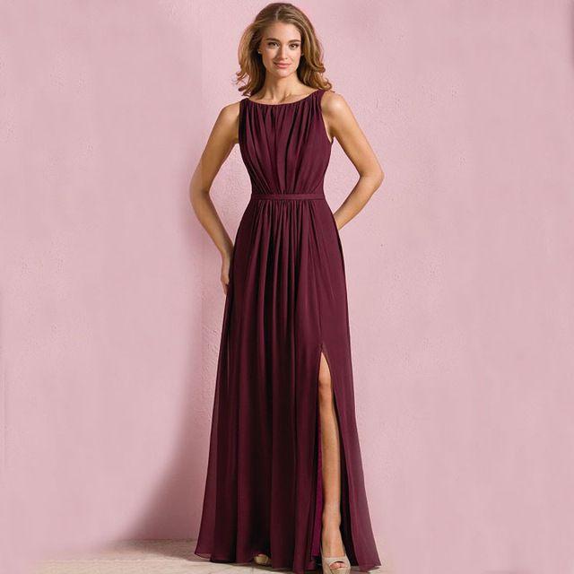 B842 Vestido De Festa Plus Size Maid of Honor Dress Women Cheap Side Slit Chiffon Long Navy Blue Burgundy Bridesmaid Dresses