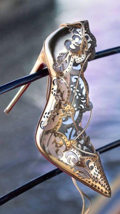 Christian Louboutin Impera pumps in gold via Filigree ❤ Scroll ❤ Cutout