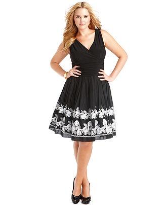 SL Fashions Plus Size Dress, Sleeveless Pleated Empire Waist Floral A-Line