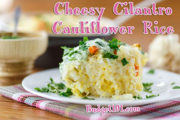 Cheesy Cilantro Cauliflower Rice Casserole