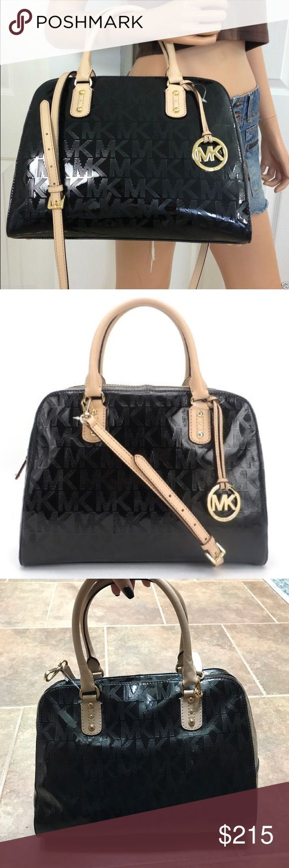 Michael Kors Black Signature Purse Brand: Michael Kors Color: Black Retail: $398 Condition: NWT  ••• Large shiny MK handbag. In PERFECT condition, brand new! Never used- still has tissue paper inside. Very spacious with a pocket on the outside and zip pocket on the inside. Has cross body chain. MK keychain not included. •••  ✨ Check out my closet for more cute items!  I ALWAYS DISCOUNT BUNDLES!  ✨ Brands in my closet include: H&M, Forever 21, Victoria's secret pink, Nike, topshop, Free…