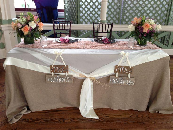 Rustic signs on a Vintage Inspired table at Wilken's Wedding, Garten Verien in Galveston