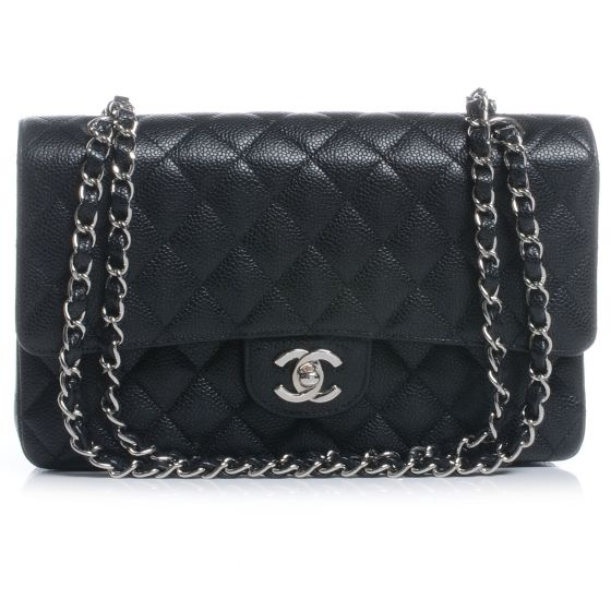 CHANEL Caviar Medium Double Flap Black, a classic staple for sure. Via Fashionphile.