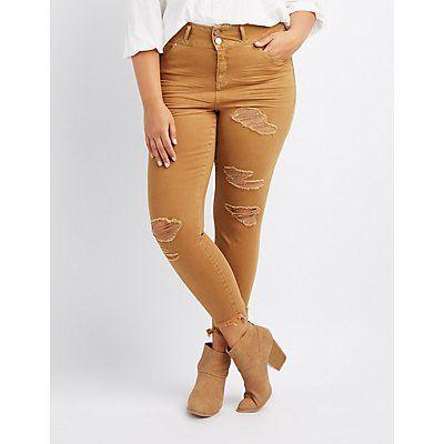 Plus Size Refuge Yellow Destroyed Boyfriend Jeans - Size 24