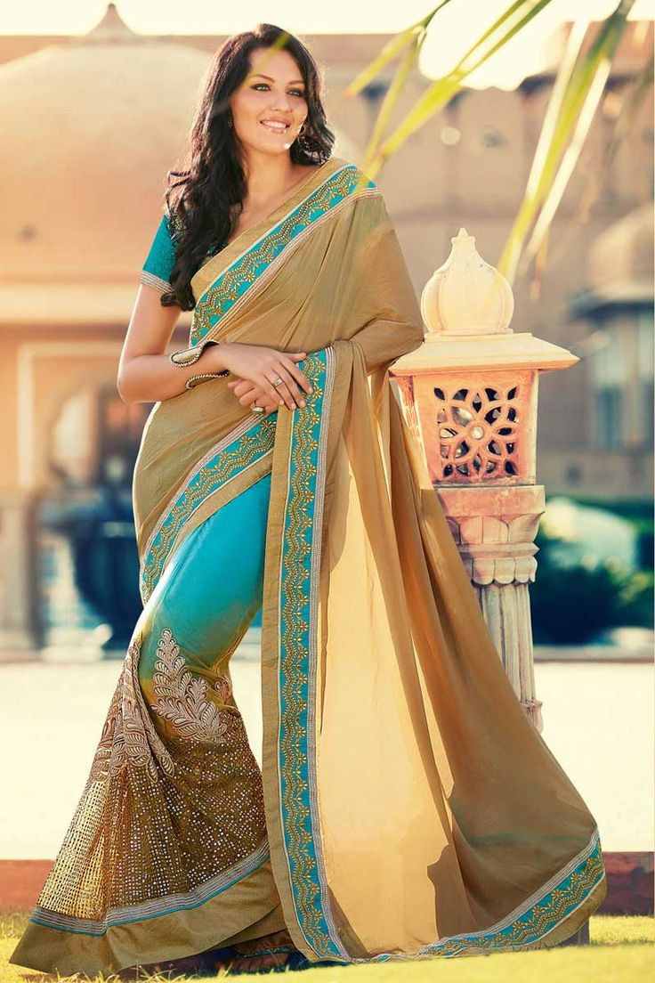 #AndaazFashion presents Sky blue beige Chiffon and net Saree With Art silk Blouse  http://www.andaazfashion.fr/womens/sarees/sky-blue-beige-chiffon-and-net-saree-with-art-silk-blouse-dmv8417.html