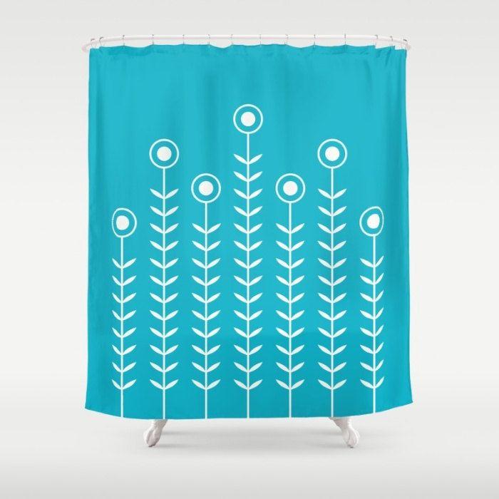 36 colours, Minimalist Flowers Shower Curtain, Scandinavian style, Scuba Blue geometric shower curtains, flower pattern bathroom decor by ThingsThatSing on Etsy