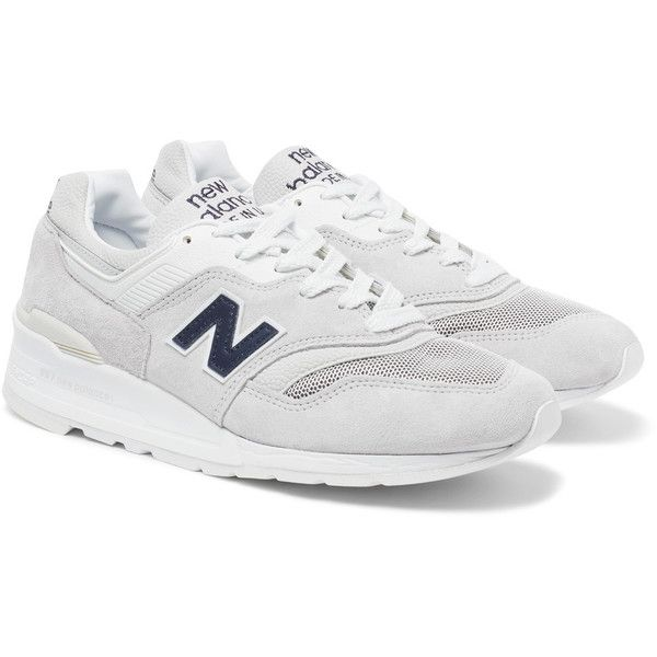 New Balance 997 Suede and Mesh Sneakers ($225) ❤ liked on Polyvore featuring men's fashion, men's shoes, men's sneakers, new balance mens shoes, mens suede sneakers, mens mesh shoes, mens suede shoes and mens lightweight running shoes