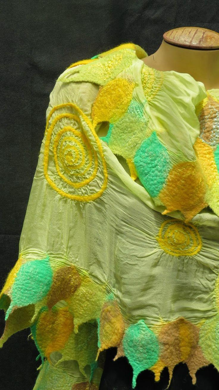 Echarpe Fieltro Nuno. Hojas de lana marino sobre seda natural.