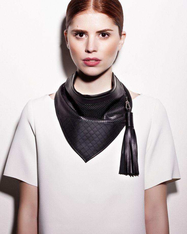 Daniel Havillio leather scarf. Perforated lamb nappa & neoprene. Leather Jewelry. www.danielhavillio.com