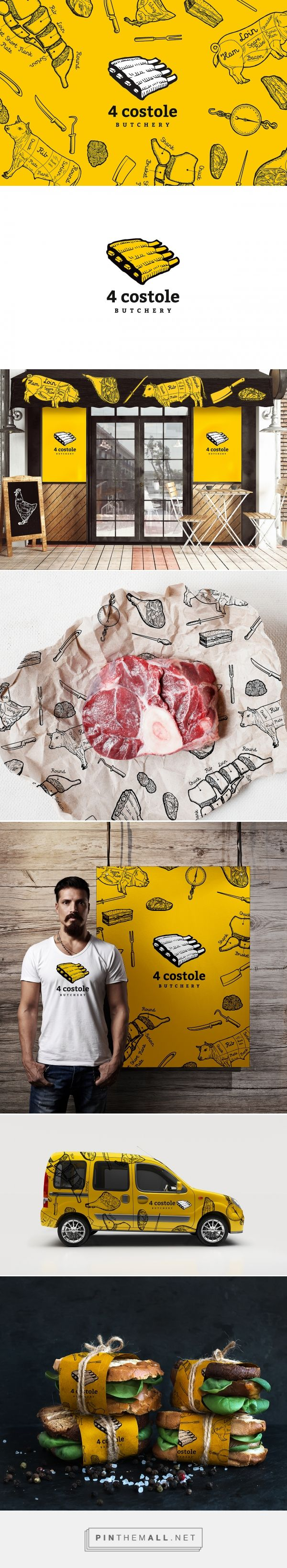 Branding and identity for butcher shop by MAISON D'IDÉE for 4 Costole Butchery curated by Packaging Diva PD. About the best looking sandwiches and packaging I've seen in a while.