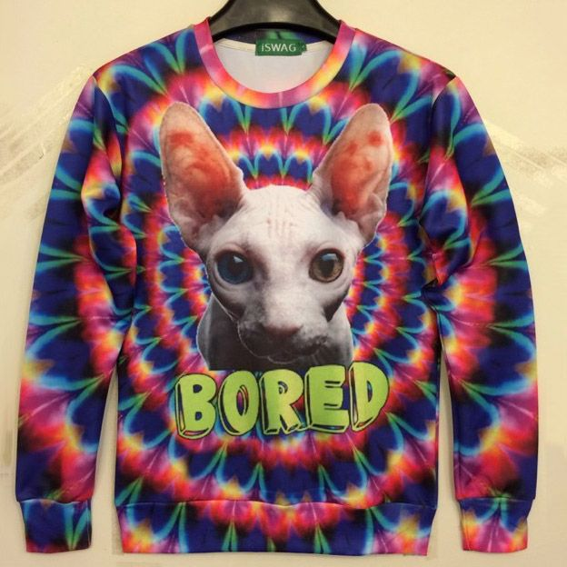 new funny sweatshirt 3d sphynx hairless cat colorful bored print et pattern hoodie men women long