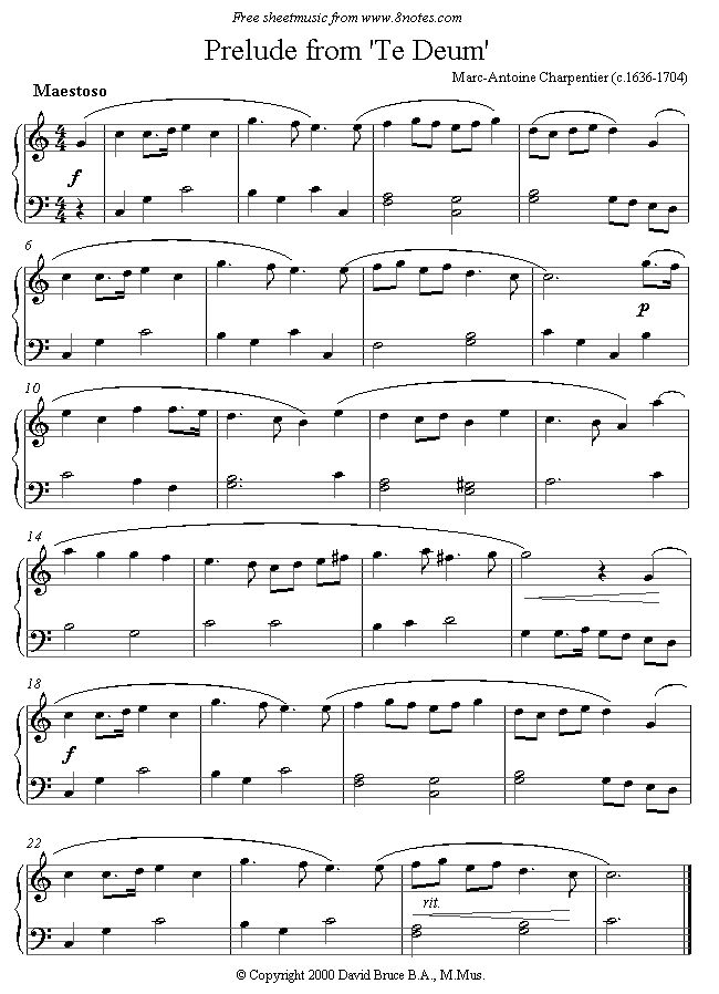 Charpentier - Prelude from 'Te Deum' sheet music for Piano