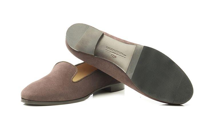 SHOEPASSION.com – Dunkelbrauner Damen-Loafer aus Rauleder
