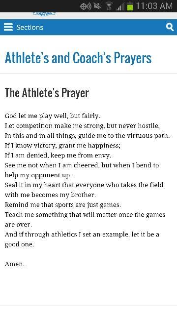 Athletes Prayer!  Love, love, love this!