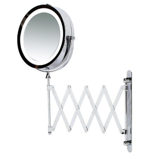 Kenley Wall Mounted Magnifying Makeup Mirror with LED Light - Extending  Vanity Shaving Lighted 7