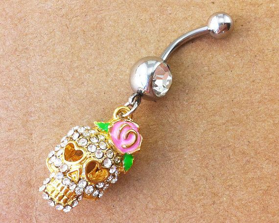 skull Belly Button Rings belly button ring crystal by MagicTrip