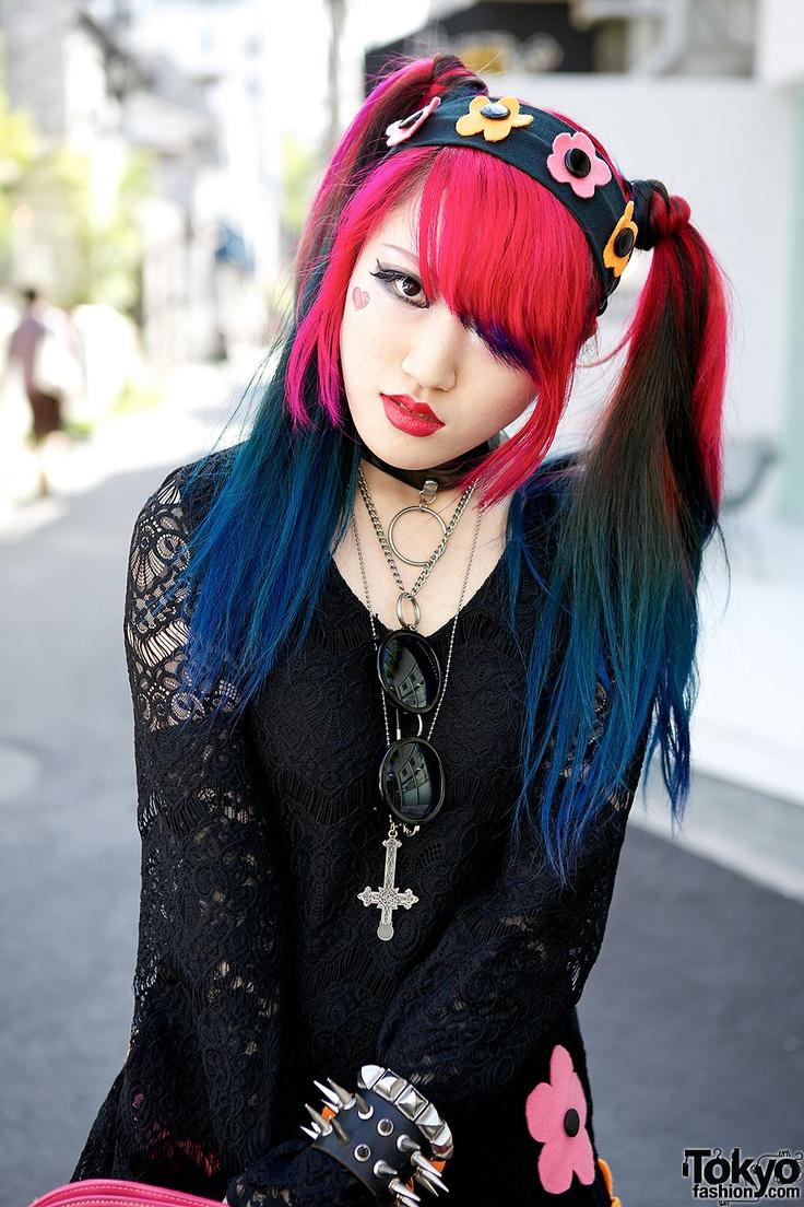 Pink & Blue Hair in Harajuku