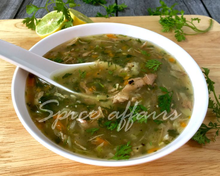 #Lemon #coriander #chicken #soup Try this #indochinese soup it's full of #vitamin C, as it has ingredients like #lemon #coriander and has the goodness of #veggies and home made healthy chicken #stock. This one bowl soup is helpful in boosting the vitamin C levels in your body and as we all know it is helpful in reliving cough and cold, so give bowlful of this comforting soup to your loved once on the day they feel down or any other day they wish to have. Enjoy your #winter  #spiceaffairs