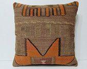 24x24 HANDWOVEN orange pillow sham beige pillow cover brown pillow case 24x24 pillow case large cushion cover tan pillow kilim pillow 18951