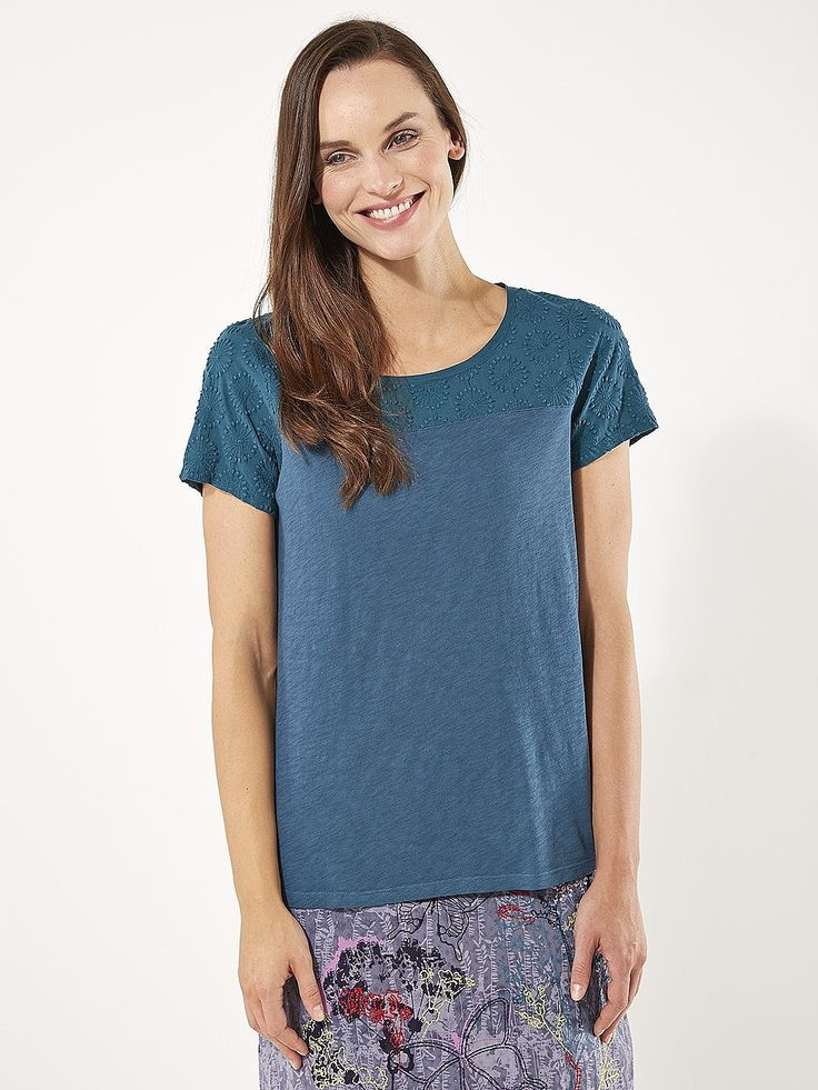 Womens petrol blue forest orchid tee from White Stuff - £32.50 at ClothingByColour.com