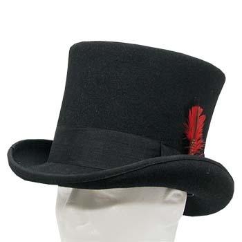 MAD HATTER VICTORIAN Black SLASH Top Hat Men's 7-1/4