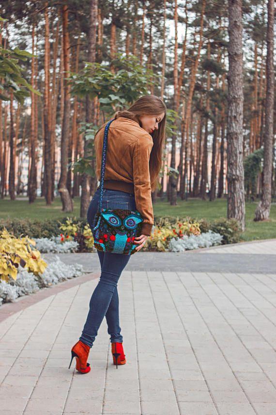 Shoulder Women's Bag Crochet Free-form Blue Purse