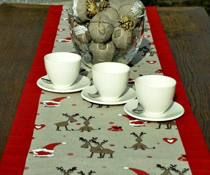 Christmas Table Runner Festive Table Runner Linen Christmas Table Runner Reindeer Tableware Christmas Gift Christmas Story Wrapped in Linen by OldCourtLinens on Etsy Sale now on!