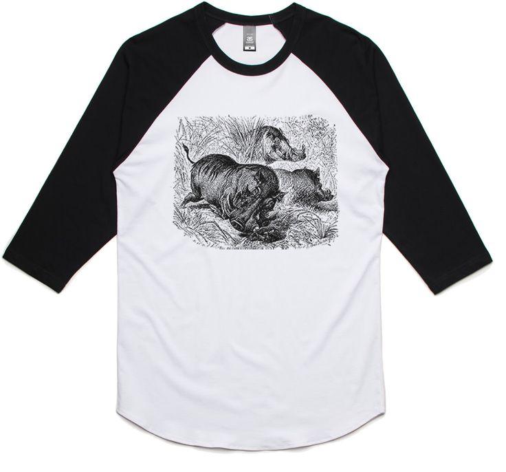 theIndie Wild Warthogs (Black) 3/4-Sleeve Raglan Baseball T-Shirt