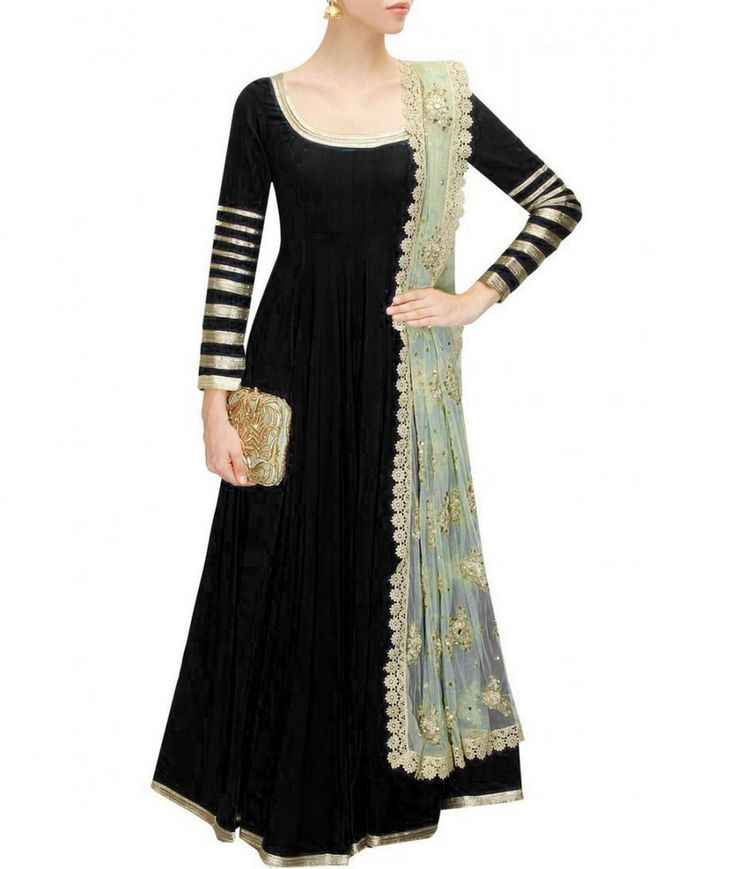 This featuring designer Black Bangalori Silk Embroidered Anarkali Suit for women, also comes with net matching dupatta and salwar. This is a free size dress.