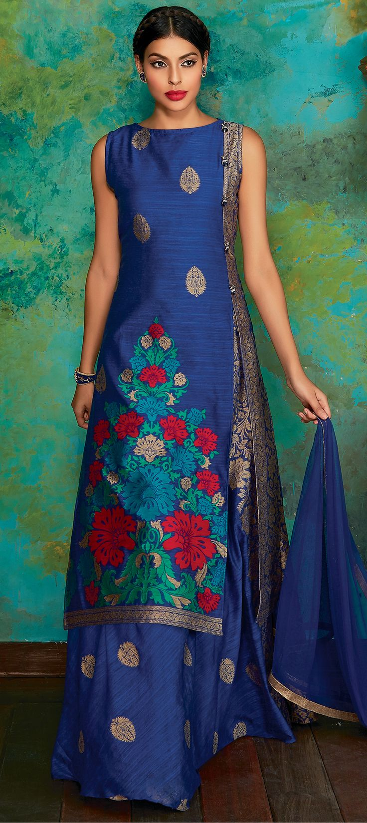 737091: Blue color family stitched Long Lehenga Choli .