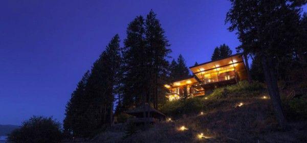 An elegant residence overlooking the Lake tree night