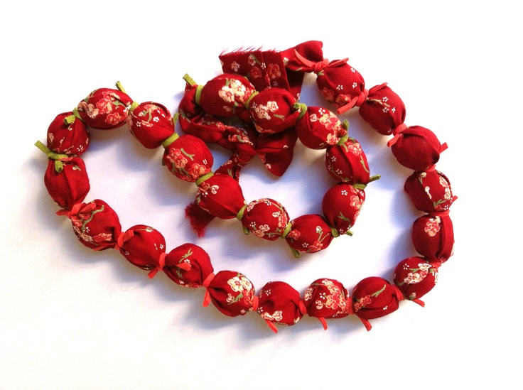 Fabric Necklace in red colors (made to order). $32.00, via Etsy.