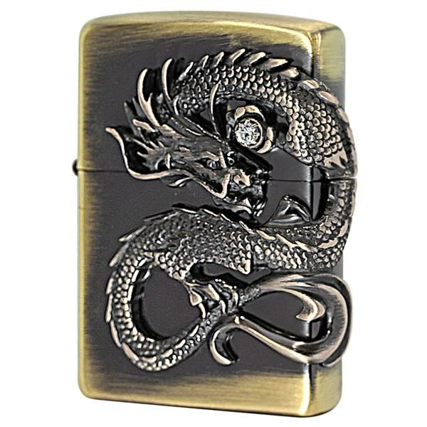 Zippo Lighter Japanese Dragon Side Metal 2 Brass Old Finish DS-BS
