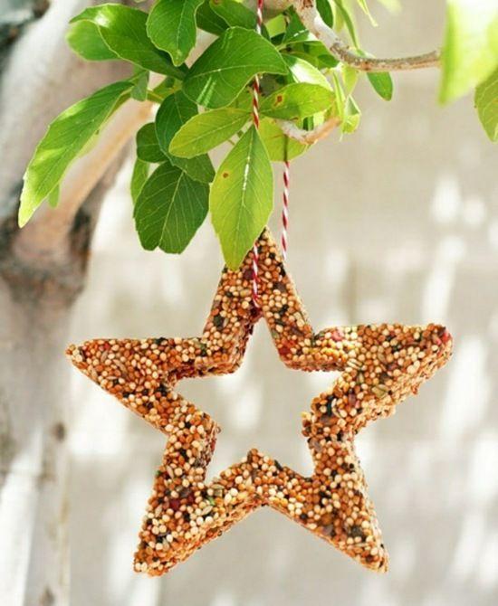 mangeoire oiseaux en forme d'étoile avec sésame