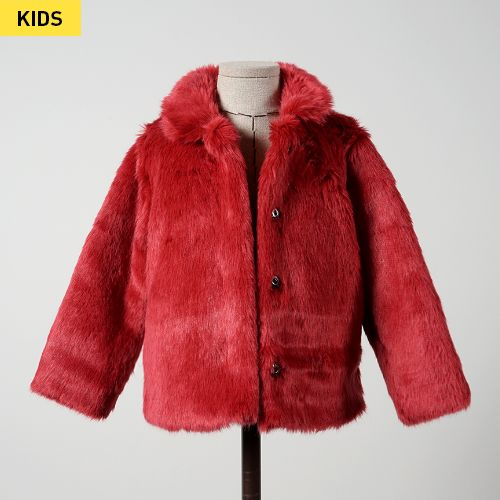Red faux mink fur jacket for baby girls