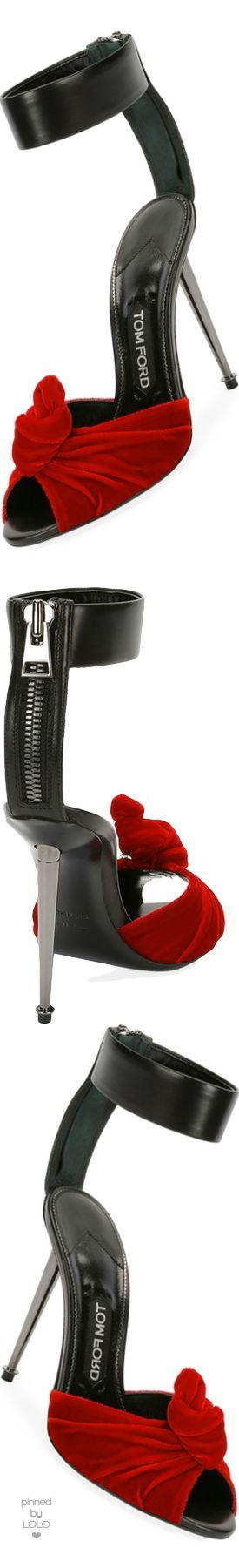 TOM FORD Velvet/Leather Knot Hardware-Heel Sandal Red/Black