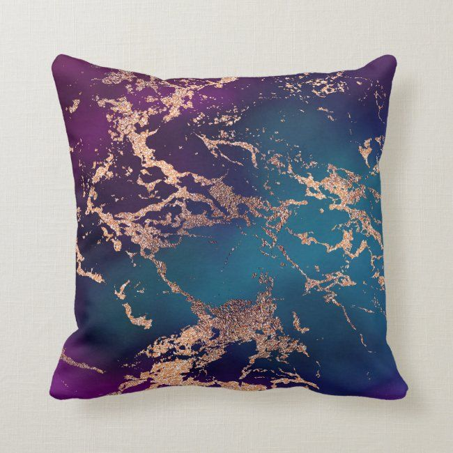 Moody Marble Deep Luxe Purple Teal Rose Gold Throw Pillow Zazzle Com Jewel Tone Decor Rose Gold Throw Pillows Luxe Decor