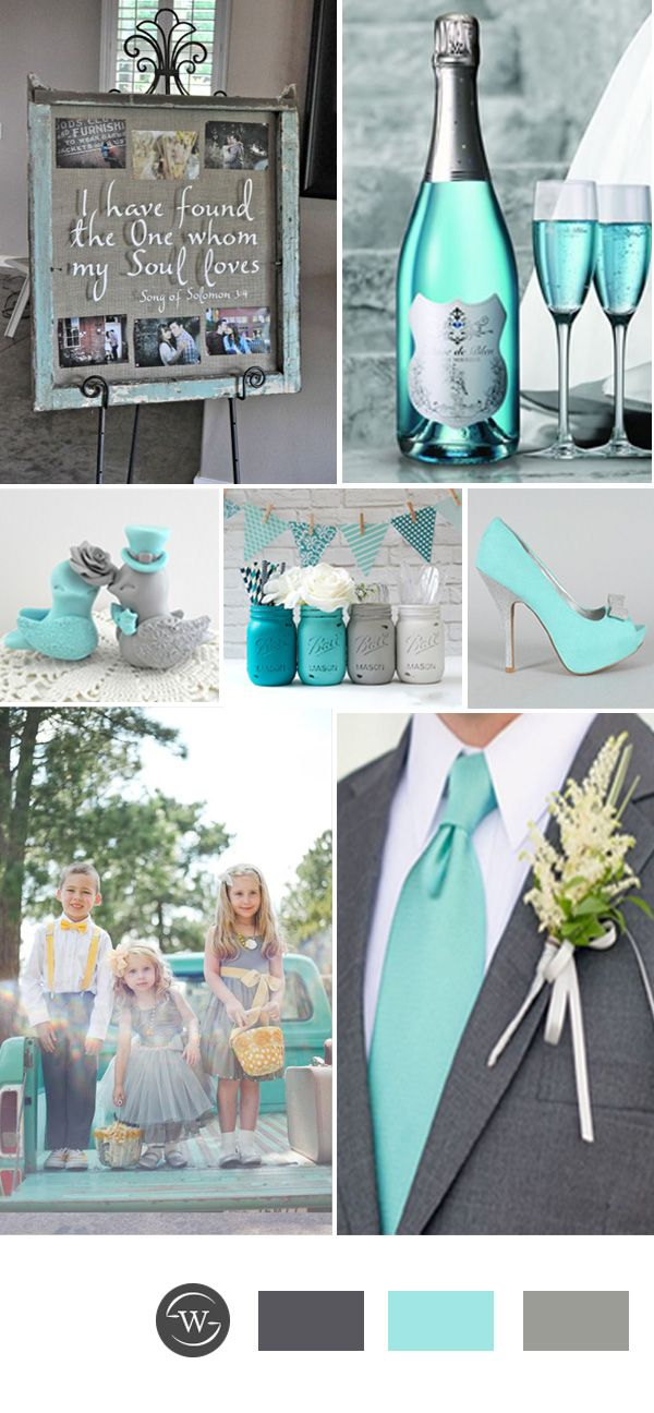 vintage tiffany blue and grey wedding color ideas