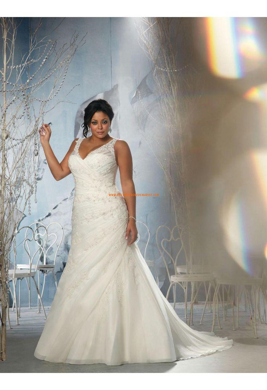 Robe de mariée grande taille organza appliqué col en V