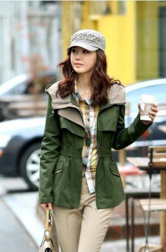 Long Sleeve #Army Green Trench #Coat Ladies #Jacket Outwear - $48.99