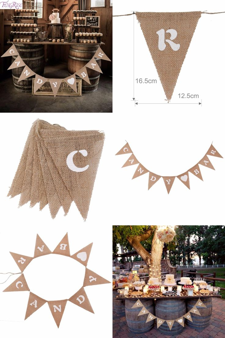 [Visit to Buy] FENGRISE Wedding Decoration Candy Bar Banner Bunting Hessian Burlap Pennant Just Married Mr Mrs Birthday Event Party Supplies #Advertisement