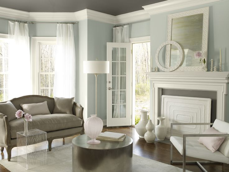 Benjamin Moore - smoke (walls), Kendall charcoal (ceiling), genesis white (trim)