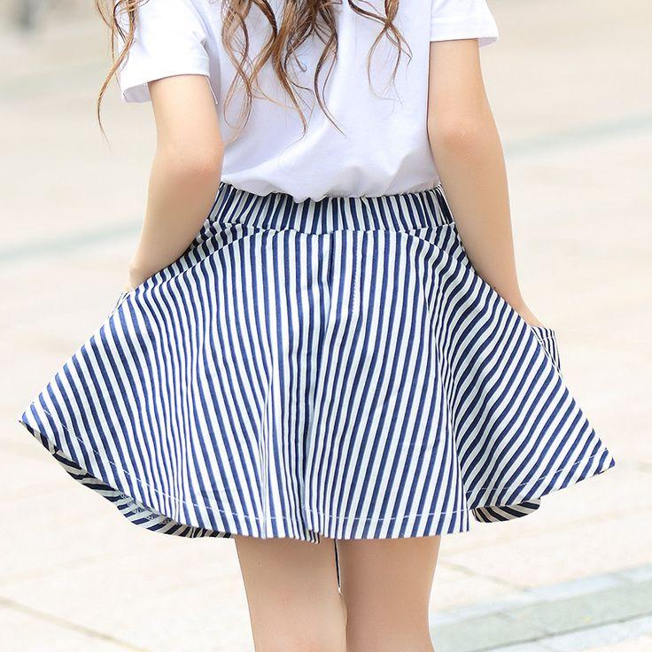 Известный бренд Обувь для девочек Полосатая юбка для маленьких детей Основные на лето и весну юбка для детская одежда Обувь для девочек мини-юбка Jupe для больших детей