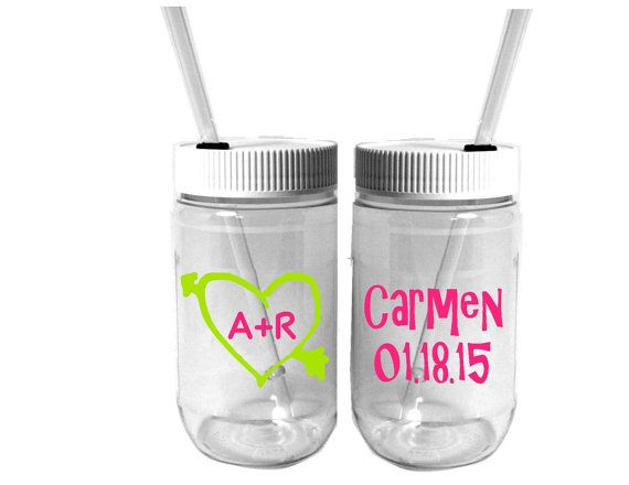 Personalized Plastic Mason Jar Cups  Wedding by RememberedOnceMore